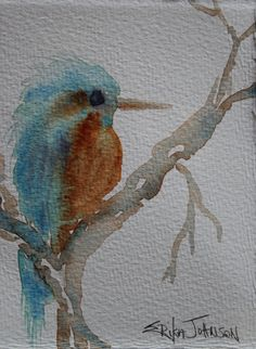 Something Blue  Original Watercolor Bird by ErikaJohnsonGallery, $17.50