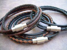 Mens  Leather Bracelet,Stainless Steel Magnetic Clasp,Mens Bracelet, Mens Jewelry, Leather Bracelet by UrbanSurvivalGearUSA on Etsy https://www.etsy.com/listing/159852286/mens-leather-braceletstainless-steel