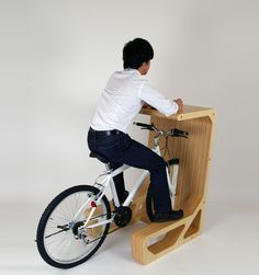 *PIT IN* is a table for a bicycle whose saddle functions as a chair.  Sitting on the saddle of bicycle,for example, you can take a coffee break,check e-mails by lap-top, and so on.  This table will open up a new life style of bicycle.