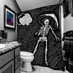 Only Happy When It Rains Skeleton Shower Curtain - Room - Goth Home Decor, Cheap Home Decor, Gypsy Decor, Memento Mori, Black Curtains, Gothic House, Arte Pop, Fabric Shower Curtains, Curtain Room