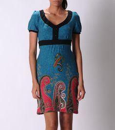 Dresses & Skirts - Teal Paisley Print Dress
