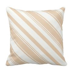 Tan and White Diagonal Stripes Pillow ............This design features a Tan and White Diagonal Stripes pattern. Check out my store for more pillows with different colors. This design/color is also available on other products.