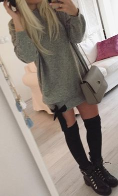 #fall #outfits Grey Sweater Dress // Shoulder Bag // Long Socks // Ankle Boots