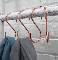 Set Of Four Copper Plated Hooks