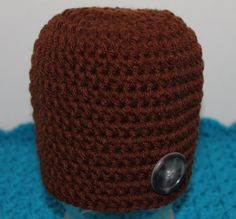 Crochet Newborn Brown Hat with Button Photo by SweetBlessings28, $5.50