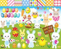 53 Easter clipart,Digital easter clip art,Easter egg clipart,Easter bunny clipart,rabbit clipart,instant download,graphics,digital images by JaneJoArt on Etsy https://www.etsy.com/uk/listing/503794586/53-easter-clipartdigital-easter-clip