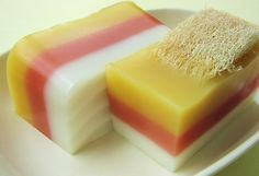 (Found on the WWW. I do not own this photo.) Candy corn colored soap.