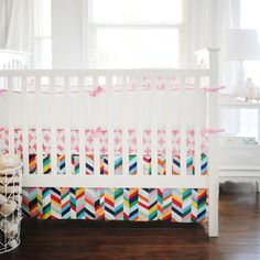 Your Funky Pink Crib Bedding Set Here The Is Perfect For A Modern Nursery Featuring Fun Mix Of Patterns And Colors