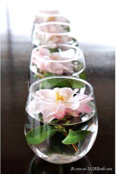 Wedding centerpieces for reception tables - see more: http://weddings.usabride.com/outdoor-weddings/favorite-simple-wedding-centerpieces/