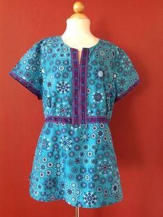 KOI Kimberly Scrub Top Blue Floral Size XL #Koi