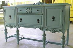 aqua-shabby-chic-painted-antique-buffet.... wow