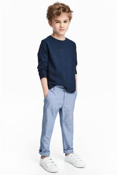 Chinos in washed stretch cotton fabric. Adjustable elasticized waistband, zip fly, and button. Side pockets, coin pocket, and mock back Boys Curly Haircuts Kids, Boy Haircuts Long, Little Boy Hairstyles, Toddler Boy Haircuts, Haircuts For Wavy Hair, Boys With Curly Hair, Curly Hair Cuts, Long Hair Cuts, Curly Hair Styles