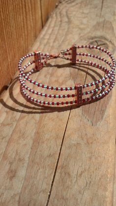 3-Strand Memory Wire with Spacer Bars & Clasp - Red and blue memory wire bracelet by Natjerm on Etsy, $10.00