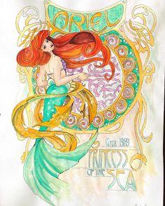 """15 gilla-markeringar, 3 kommentarer - Sandra (@bumbl8b88) på Instagram: """"Ariel :) #theartofdisneyprincesses #disney #watercolor #winsorandnewton #primamarketing…"""""""