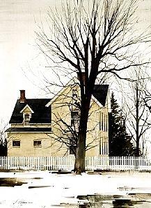 "Joseph Alleman / 2003 / Fleeting Snow / Watercolor / 20"" x 14.5"""