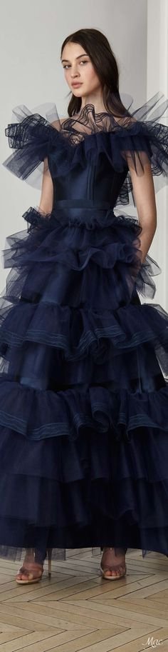 A stunning cobalt blue silk with ruffled detailed gown from the  Pre-Fall 2017 Alexis Mabille collection. This dress would be a show stopper at your next red carpet event.