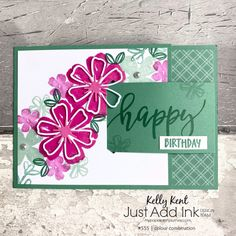 Just Add Ink #555 | colour combination – kelly kent Girl Birthday Cards, Happy Birthday, Fun Fold Cards, Triangle Shape, Stamping Up, Pansies, Stampin Up Cards, Color Combinations, Create Yourself