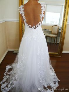 2014 Sexy Sheer Back Beach A Line Lace Tulle Wedding Dresses Sweetheart Neckline Short Sleeves Court Train Online with $138.17/Piece on Yateweddingdress's Store | DHgate.com