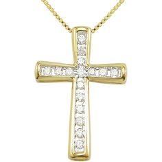 CT. T.W. Diamond 10K Yellow Gold Cross Pendant Necklace ($100) ❤ liked on Polyvore featuring jewelry, necklaces, no color, cross pendant necklace, gold necklace, cross pendants, diamond cross pendant and cross charms