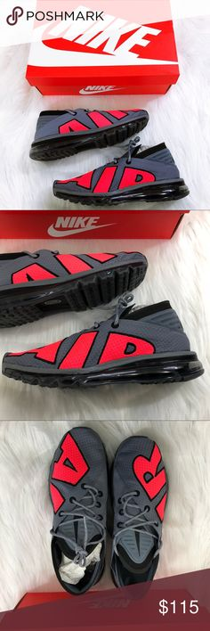 Nike Air Max Flair Men's 9.5 Cool Grey Solar Red Size 9.5 Men's.  New in box! Cool grey/solar red.  Perfect for any collection! Nike Shoes Sneakers