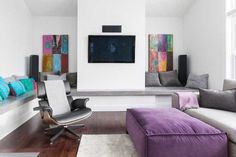 living room furniture in gray and purple colors