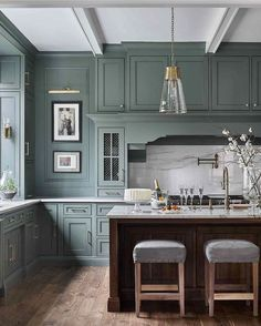 """Green is moving in as the new neutral for While some blues will still be around, green kitchens are suddenly on the """"It"""" list. design kitchen traditional Kitchen Trends The New Traditional Kitchen — Heather Hungeling Design Classic Kitchen, New Kitchen, Kitchen Decor, Kitchen Ideas, Kitchen Themes, Kitchen Inspiration, Kitchen Color Themes, Walnut Kitchen, Shaker Kitchen"""