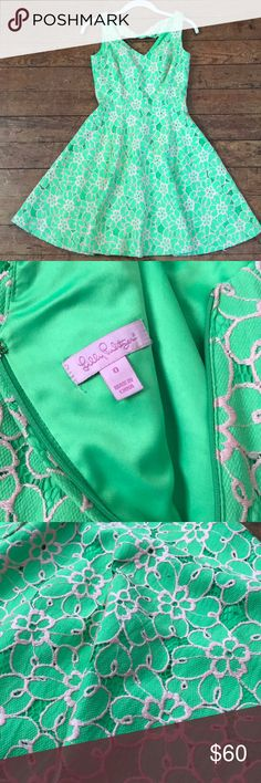 Lily Pulitzer Floral Fit & Flare Dress Pink & Green Spring Floral Dress Beautiful Fit Worn Once Get your closet ready for a perfect bright spring day. Lilly Pulitzer Dresses