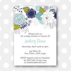Invitation - Blue Floral