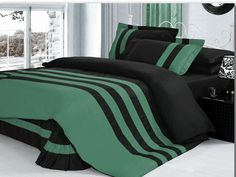 Xmas 14'' 6 Pc Stripped King Aqua Marine & Black Duvet / Quilt Cover Set