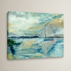 Featuring a serene seascape motif, this wrapped canvas print brings a touch of tranquility to any wall. Let it anchor a classic coastal gallery wall, or hang it on its own as a lovely focal point in the master suite. Metal Wall Art, Canvas Wall Art, Canvas Prints, Painting Prints, Art Prints, Acrylic Paintings, Acrylic Art, Poster Prints, Bay Boats