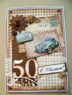 """Купить Открытка большая для мужчины"""" С юбилеем!"""" - коричневый, открытка на день рождения, открытка на юбилей"""