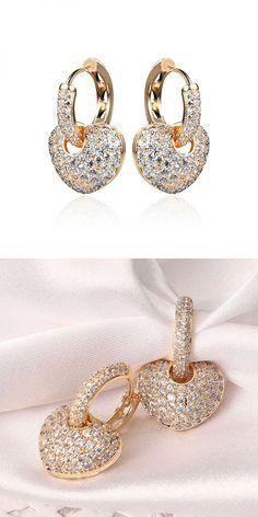 Meira t earrings 24k gold and platinum plated micro inlay zircon shiny heart pendant hoop earrings jewelry for women #earrings #everyday #earrings #organizer #kpop #earrings #x #earrings #studs