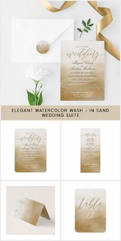Awash Elegant Watercolor - In Sand Invitation Collection #ad #sand #tan #brown #watercolor #wedding #invitation #weddingideas #weddinginvitations #beachwedding #summerwedding #destinationwedding