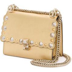 Fendi kan I studded bag (3 069 935 LBP) ❤ liked on Polyvore featuring bags, handbags, genuine leather handbags, metallic purse, real leather purses, metallic leather purse and studded handbags