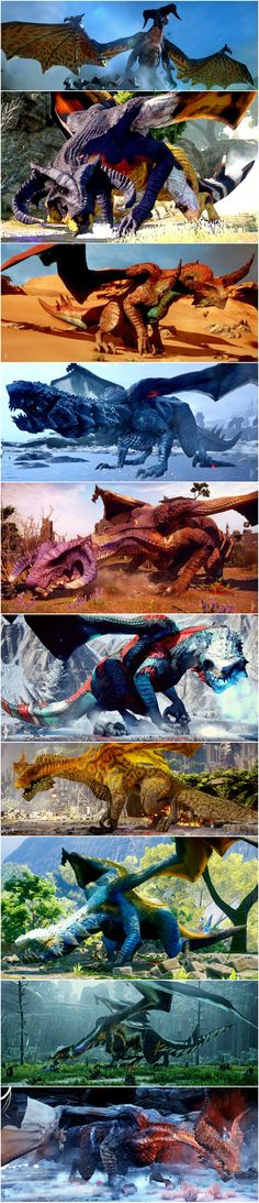 """Dragons of DA:I ~For people who keep saying """"But where are the DRAGONS in Dragon Age?"""" Here ya go."""