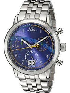88 Rue du Rhone Men's Stainless Steel Bracelet Watch with Blue Dial ❤ 88 Rue du Rhone Swiss Made Watches, Stainless Steel Bracelet, Bracelet Watch, Bracelets, Blue, Bracelet, Arm Bracelets, Bangle, Bangles