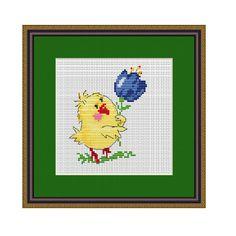 Cute Baby Chick Cross Stitch Pattern. PDF Chart. Easy Pattern. Pattern. Instant Download. DIY Cross Stitch Decor.