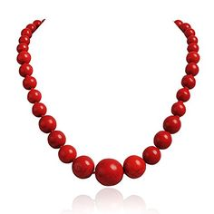 Jane Stone Fashion Elegant Multi-size Coral Red Beaded Funky Necklace Statement Bib Jewelry For Mummy(Fn1270-Red) Jane Stone http://smile.amazon.com/dp/B00L8QSED0/ref=cm_sw_r_pi_dp_PUrYvb1J4HK08