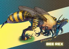 Tagged with dnd, dungeonsanddragons, dungeonsanddragons, dndhomebrew, beerexgonnastingya; The BeeRex by Laser Lluis ( Mythical Creatures Art, Prehistoric Creatures, Magical Creatures, Monster Design, Monster Art, Creature Feature, Creature Design, Fantasy Beasts, Fantasy Art