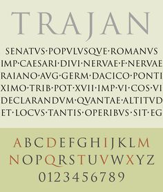 """""""The design is based on the letterforms of capitalis monumentalis or Roman square capitals, as used for the inscription at the base of Trajan's Column from which the typeface takes its name. Best Serif Fonts, Serif Typeface, Modern Typeface, Typography Poster, Typography Design, Lettering, Trajan Font, Roman Letters, Roman Alphabet"""