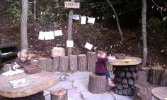Love the tree table in this outdoor art area-- Hidden Hollow, Cape Cod Natural Play Spaces, Outdoor Play Spaces, Outdoor Art, Outdoor Gardens, Outside Playground, Preschool Playground, Playground Ideas, Outdoor Classroom, Outdoor School