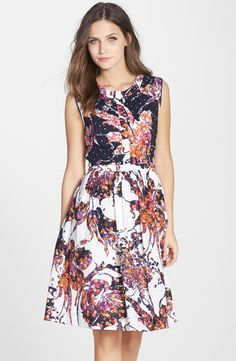 Adrianna Papell Floral Print Eyelet Shirtdress >> I'm not usually a floral person but this is cute