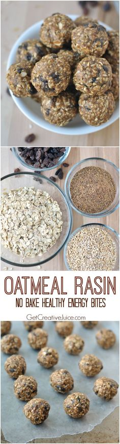 Oatmeal Raisin Energy Bites - No Bake & Healthy recipe! All clean eating ingredients are used to make these bite sized treat. These make the perfect grab and go snack too! Healthy Baking, Healthy Desserts, Healthy Recipes, Healthy Breakfasts, Snack Recipes, Cooking Recipes, Oatmeal Recipes, Energy Snacks, The Best