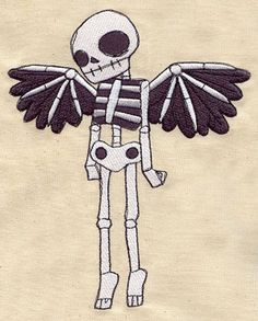 Embroidery Designs at Urban Threads - Winged Skeleton