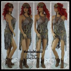 "WASTELAND DRESS FAllout Apocalyptic Dress Zombie Dress Burning Man Dress Mad Max Dress ""One Size"" Wasteland Costume by WastelandWearable by WastelandWearable on Etsy"