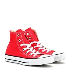 Converse Chuck Taylor All Star High-Top Sneakers ($55) ❤ liked on Polyvore featuring shoes, sneakers, converse, sapatos, kengät, red, high top shoes, converse trainers, star shoes and red hi top sneakers