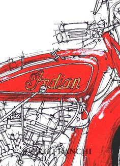 Motorcycle Portrait INDIAN SCOUT 1928  Original by drawspots, $38.00