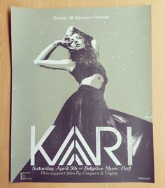 Kari screen print gig poster by Or8 Design