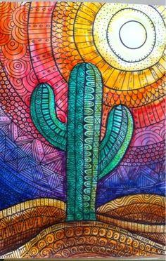 Doodle Desierto con sol y cactus