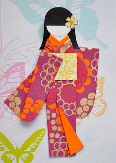 Kimono Doll Card by Evelynz27, via Flickr